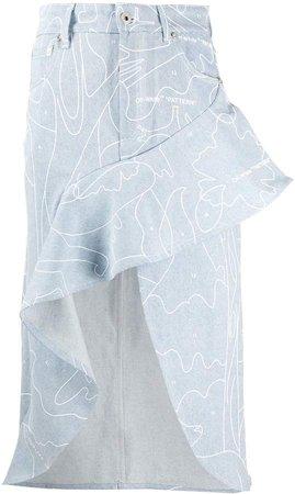 Off White PRINTED RUFFLE SKIRT BLUE WHITE