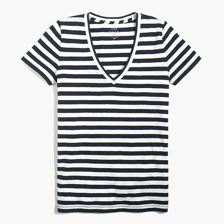 J.Crew Factory: Striped V-neck Cotton Tee For Women