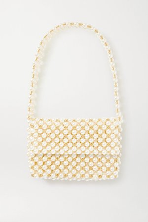 White + NET SUSTAIN The Pearl Mist faux pearl and gold-plated shoulder bag | Vanina | NET-A-PORTER