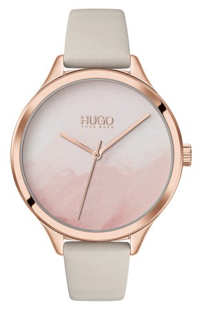 HUGO Smash Leather Strap Watch, 36mm | Nordstrom