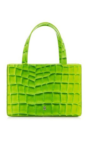 Amini Giorgia Croc-Effect Leather Top Handle Bag By Amina Muaddi | Moda Operandi
