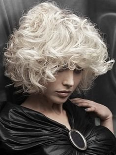 Curly bleach blonde hair