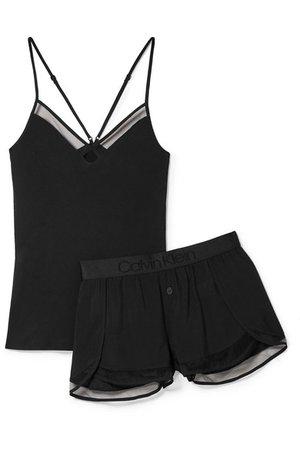 Calvin Klein Underwear | Mesh-trimmed stretch-jersey pajama set | NET-A-PORTER.COM