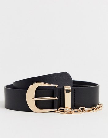 ASOS DESIGN faux leather slim belt in black with gold buckle and chain | ASOS