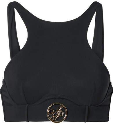 Laurella Belted Cutout Bikini Top - Black