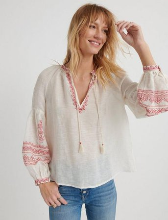 Embroidered Yoke Peasant Top | Lucky Brand