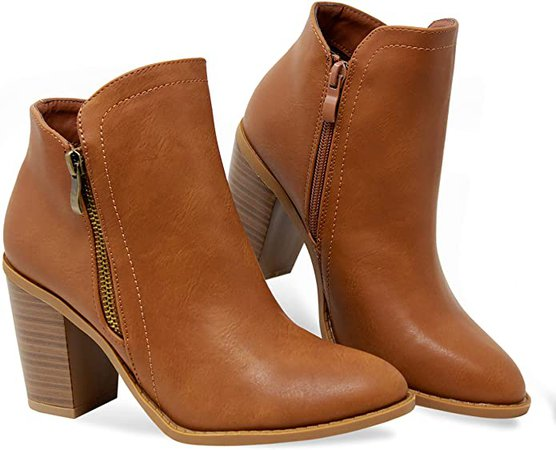 Amazon.com | MVE Shoes Women's Side Zip High Stacked Block Heel Ankle Booties | Ankle & Bootie