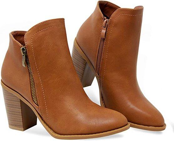 Amazon.com | MVE Shoes Women's Side Zip High Stacked Block Heel Ankle Booties | Ankle & Bootie