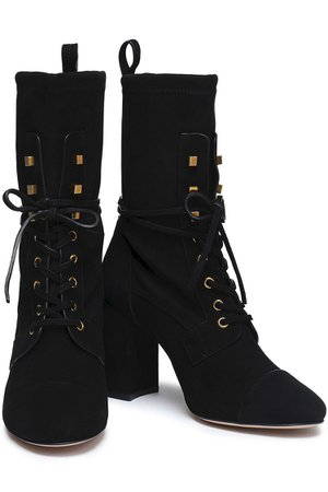 Black Lace-up stretch-suede ankle boots   Sale up to 70% off   THE OUTNET   STUART WEITZMAN   THE OUTNET