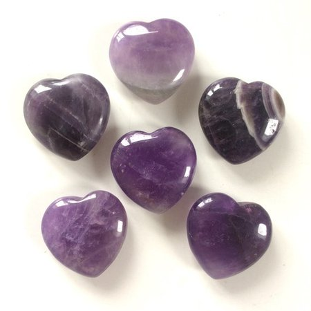 Amethyst heart shaped smooth palm stone pocket healing 30mm