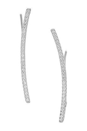 Sterling Forever | Rhodium Plated Siren CZ Ear Crawler Earrings | Nordstrom Rack