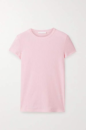 Ribbed Cotton-jersey T-shirt - Pink