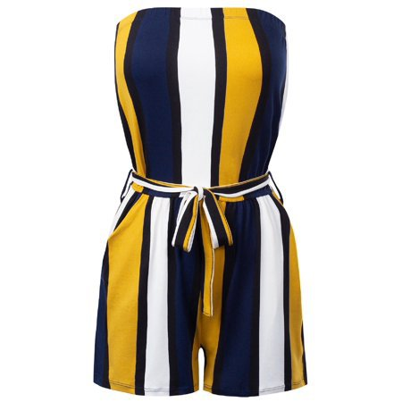MixMatchy - MixMatchy Women's Summer Pinstripe Printed Casual Tube Romper Jumpsuit Navy M - Walmart.com