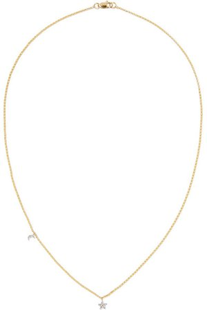 STONE AND STRAND | Moon and Star 14-karat gold diamond necklace | NET-A-PORTER.COM