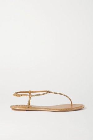 Diana Crystal-embellished Metallic Leather Sandals - Gold