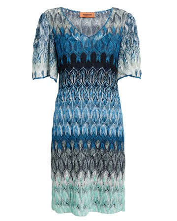 Flutter Sleeve Blue Knit Mini Dress