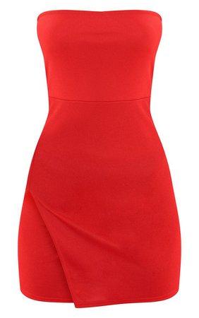 Red Crepe Split Band Bodycon Dress   Dresses   PrettyLittleThing