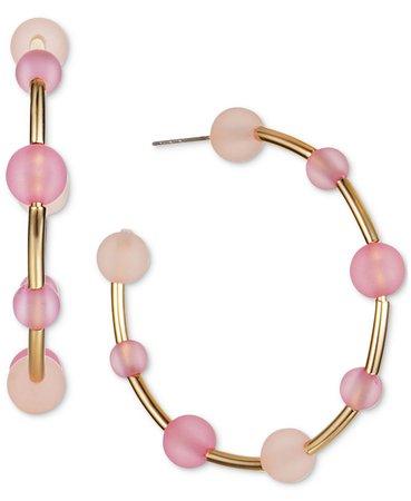 "INC International Concepts INC Gold-Tone Medium Multi-Bead C-Hoop Earrings, 2"", Created for Macy's & Reviews - Earrings - Jewelry & Watches - Macy's"