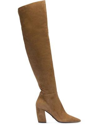 Brown Prada Suede Over-The-Knee Boots   Farfetch.com