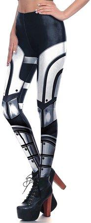 Women Fashion Cool Metal Robot Cosplay Elastic High Waist Leggings Black, White at Amazon Women's Clothing store