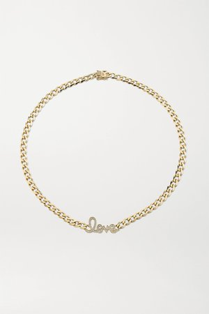 Gold Large Love 14-karat gold diamond necklace | Sydney Evan | NET-A-PORTER