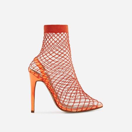 Juan Fishnet Perspex Heel In Neon Orange Patent | EGO