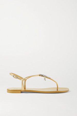 Crystal-embellished Metallic Leather Sandals - Gold