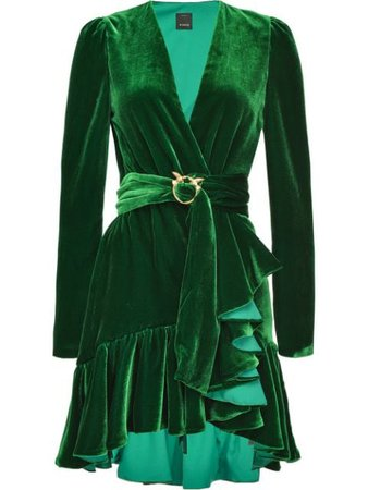 Shop green Pinko belted ruffled dress with Express Delivery - Farfetch