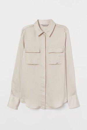 Satin Blouse - Light beige - Ladies | H&M US