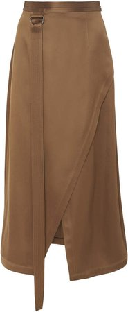 Asymmetric Wrap-Effect Satin Midi Skirt