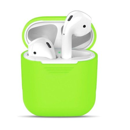 [IN-STOCK] Airpod Case - Soft Silicone Protective Cover Black Anti Scratch and Slip for Apple Airpods Charging Case (Lime Green) on Carousell
