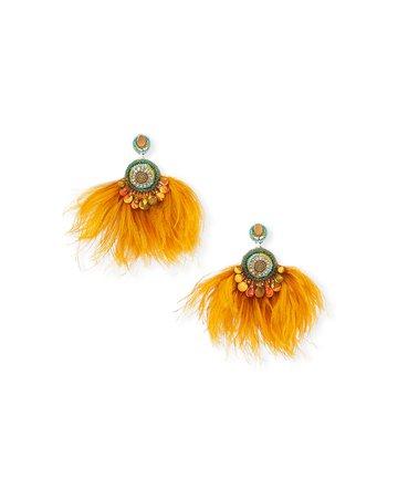 Ranjana Khan Lana Crystal Drop & Feather Fan Earrings
