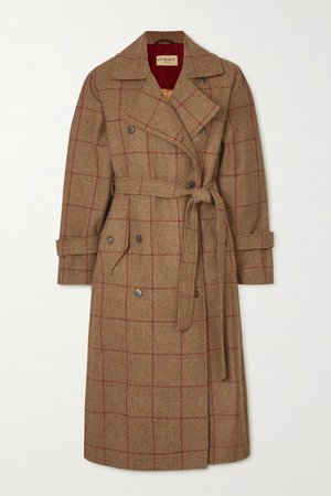 Brown Belted checked wool-tweed trench coat | Purdey | NET-A-PORTER