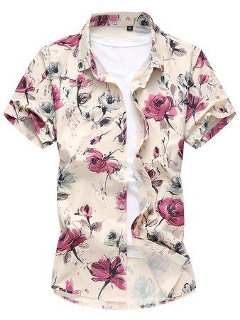 Ericdress Floral Short Sleeve Slim Men's Shirt 12843743 - Ericdress.com