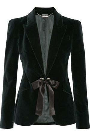 Alexander McQueen Bow-embellished velvet jacket