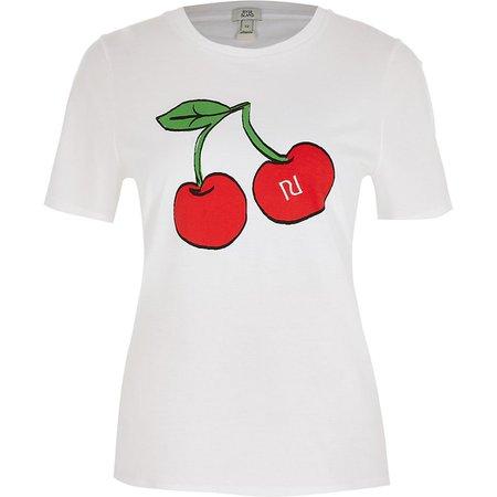 White cherry RI branded short sleeve t-shirt | River Island