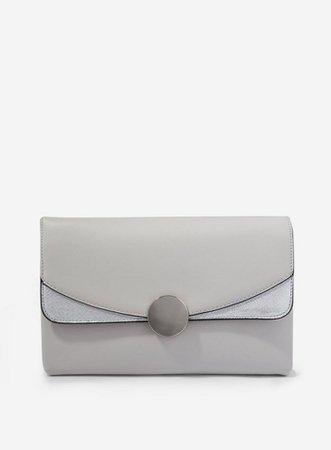 Grey Circle Hardware Clutch | Dorothy Perkins