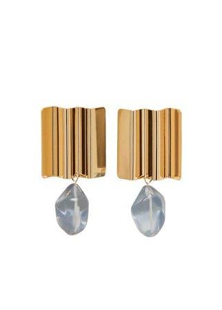 MANGO Beaded metallic earring