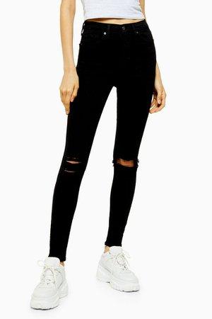 TALL Black Wash Ripped Jamie Skinny Jeans | Topshop