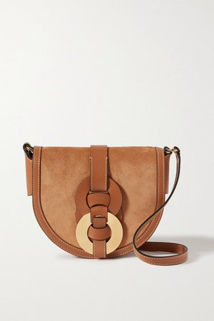 Darryl Small Leather And Suede Shoulder Bag - Brown