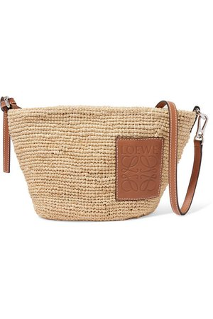 Loewe | Paula leather-trimmed woven raffia shoulder bag | NET-A-PORTER.COM
