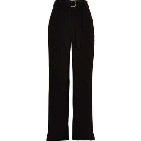 Black slim wide leg belted pants - Wide Leg Pants - Pants - women