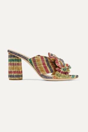 Gold Penny bow-embellished striped plissé-lamé mules | Loeffler Randall | NET-A-PORTER