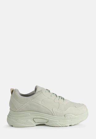 Green Chunky Sole Faux Suede Sneakers | Missguided