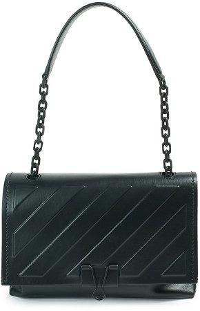 Medium Binder Clip Diagonal Embossed Leather Crossbody Bag