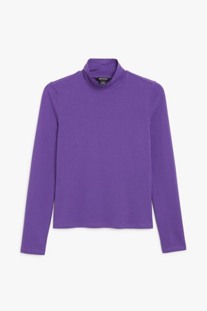 Stretchy turtleneck top - Purple - Tops - Monki
