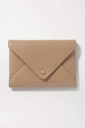 Envelope Small Leather Clutch - Beige