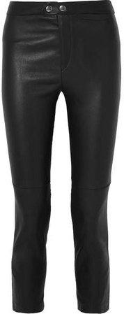 Mofira Cropped Leather Skinny Pants - Black