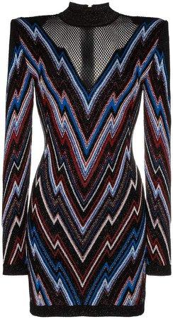 chevron pattern mesh panel knit mini dress