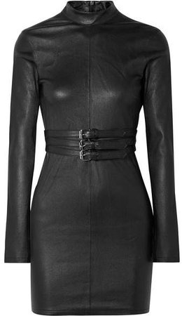 Domino Belted Stretch-leather Turtleneck Mini Dress - Black